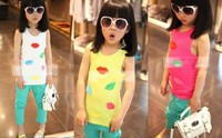 In stock! Retail Children t-shirt kids girls summer clothes colorful 3D lip decoration sleeveless t-shirt cool child tank shirts