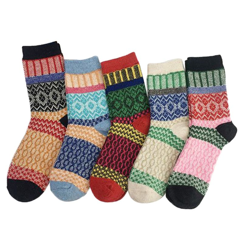 Unisex Socks Thicken Warm Rabbit Wool Long Crew Socks Striped Geometric Print Colorful Ethnic Style Ribbed Knitted