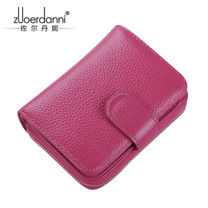 Image 5 - 2017 new womens wallet short section multi function card package womens wallet zipper leather driving license leather case wom