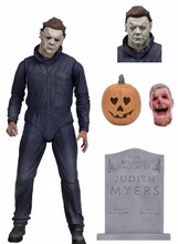 купить NECA Halloween Ultimate Michael Myers Pumpkin With LED Light PVC Action Figure Toy Doll Gift Brinquedos дешево