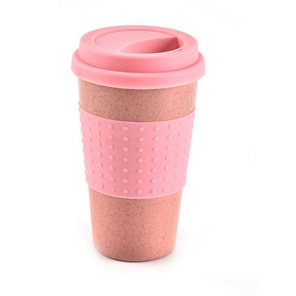 New Wheat Straw Plastic Coffee Cups Travel Coffee Cup With Lid Travel Easy Go Cup Portable for Outdoor Camping Hiking Picnic