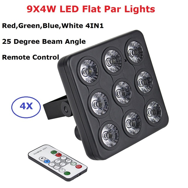 4Pcs/Lot DMX / IR Remote Control LED Show Panel 9X4W RGBW 4IN1 Luxury DMX 8 Channels LED Flat Par Light 90-240V Free Shipping