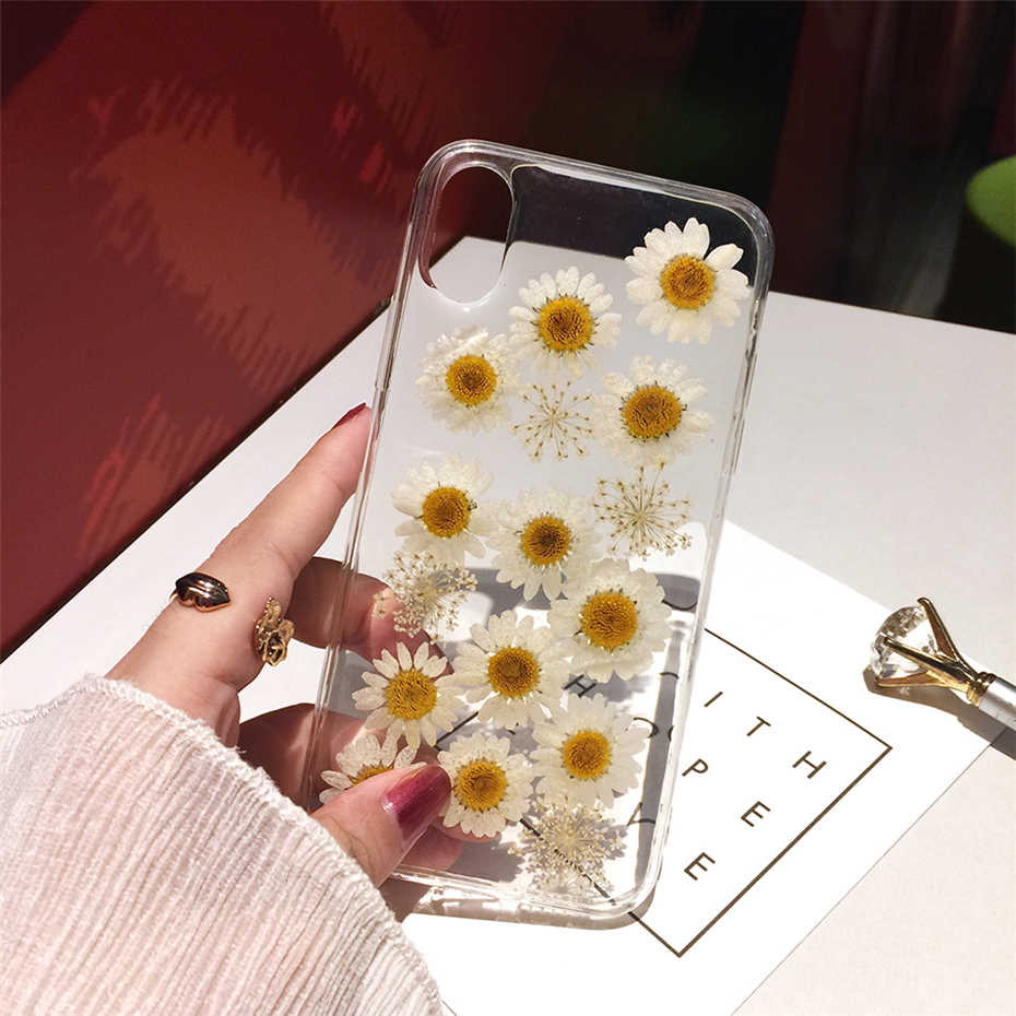 Qianliyao Dried Real Flower Handmade Clear Pressed Phone Cases For iPhone 11 Pro Max X XS Max XR 6 6S 7 8 Plus Case Soft Cover