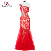 Grace Karin Elegant Mermaid Long Evening Dresses Red Black 2016 Sexy Lace Formal Dresses Prom Party