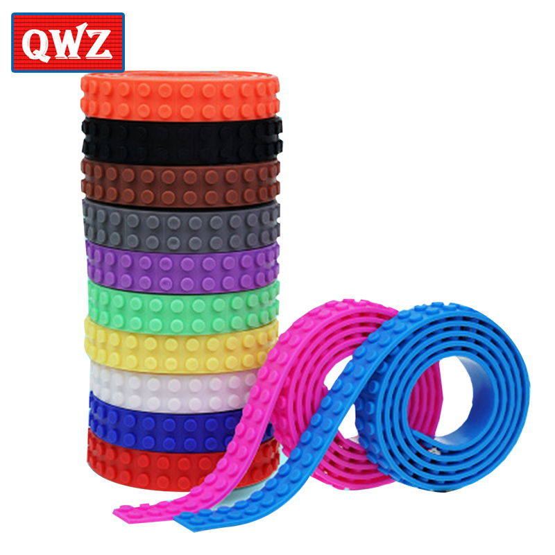 QWZ 100cm Building Block Tape Strip Sticker Bendable Flexible Soft Tape Plate For Small Brick Compatible With Brand Toy For Kids