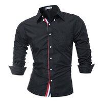 Brand 2017 Fashion Male Shirt Long Sleeves Tops Solid Color High Quality Mens Dress Shirts Slim