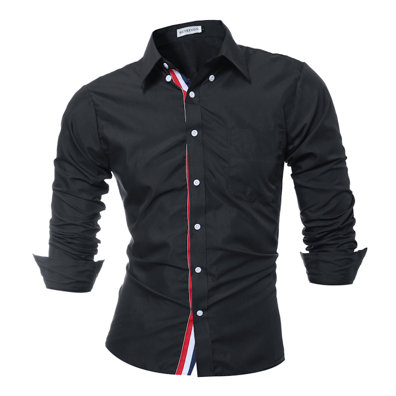Brand 2017 fashion male shirt long sleeves tops solid for Top dress shirt brands