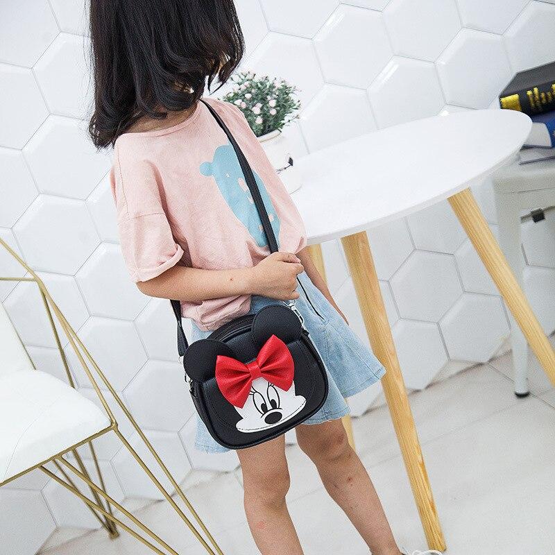 Disney Children's Bag Baby Mini Princess Fashion Girls Handbags Cute Cartoon Minnie PU Shoulder Kids Coin Purse