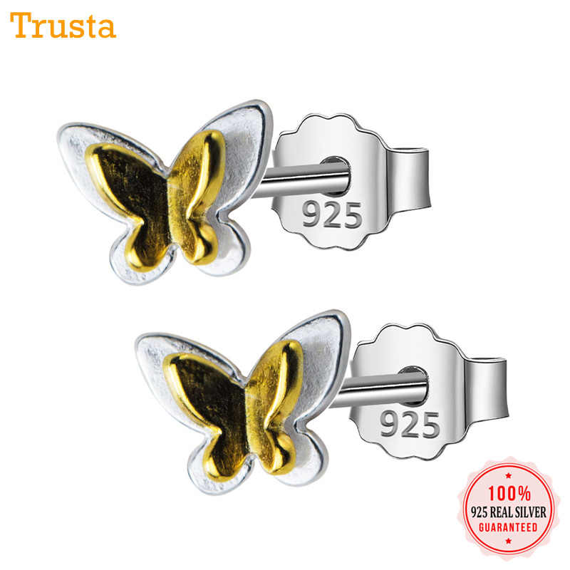 Trusta 2019 100% 925 Sterling Silver Jewelry Fashion Cute Tiny 6mmX6mm Gold Heart Stud Earrings Gift For Girls Kids Lady DS521