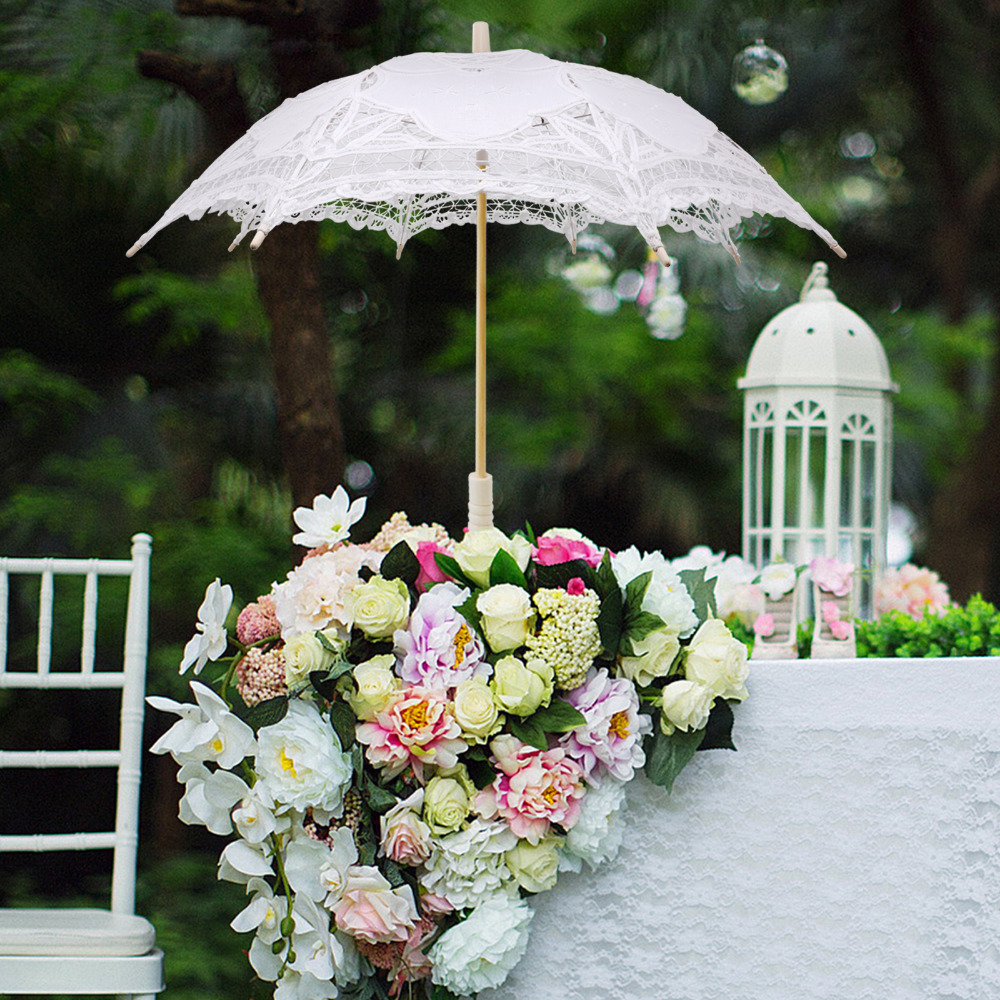 Battenburg Lace White Umbrella Wedding Bridal lace Parasol Vintage Umbrella for Bridal Bridesmaid,Wedding Gift