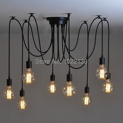 Black Spider Chandelier Lamp Vintage Retro Pendant Lamps E27 E26 Edison Creative Loft Art Decorative Diy