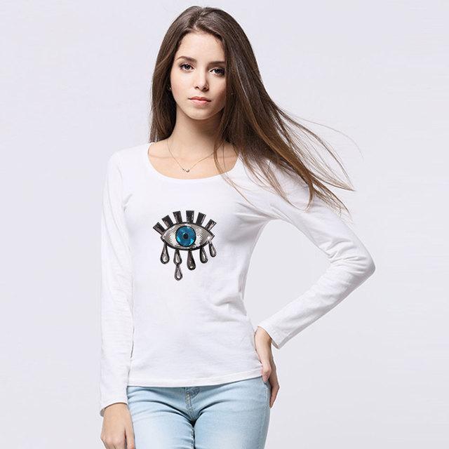 2018 Sexy Sequins Autumn Fashion Casual Loose Big Eyes paillettes T Shirt Bar Long Sleeve Design Women Hip Hop Cotton Tees S-4XL