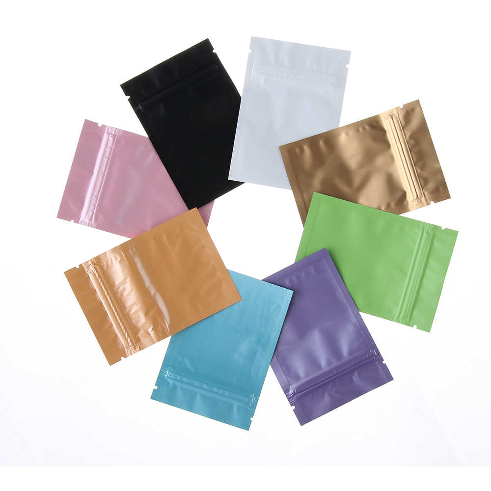 10 PCS Fashion Glossy Heat Seal Aluminum Foil Small Bag Eco-Friendly Ziplock Flat Zip Lock Retail Package Bag Storage Bag
