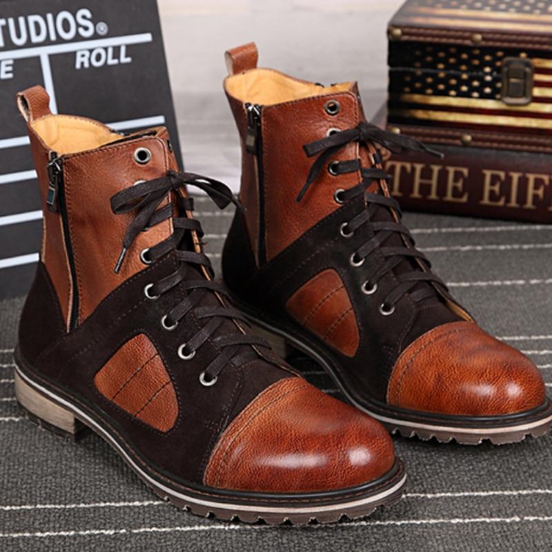 Christia Bella Fashion Genuine Leather Men Boots Casual Lace Up Ankle Boots for Men Cowboy Boots Designer Winter Shoes Plus Size лазерный нивелир ada phantom 2d