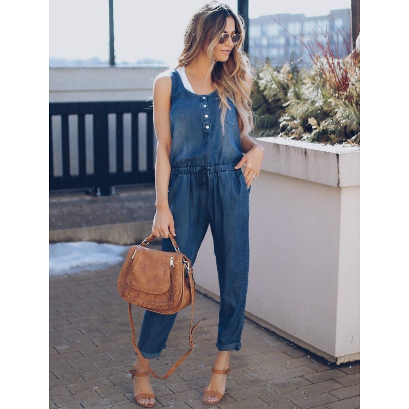 2018 Summer Fashion Pocket Rompers Womens   Jumpsuit   Loose Overalls Sleeveless Playsuit S-XL