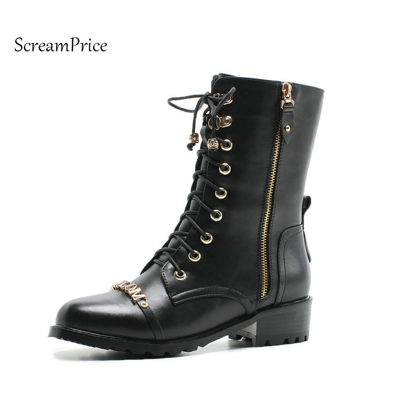 Woman Genuine Leather Platform Flat With Mid Calf Boots Fashion Lace Up Dress Calf Boots Side Zipper Round Toe Shoes Black zippers double buckle platform mid calf boots