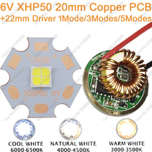 Cree XHP50 Cool White Neutral White Warm White High Power LED Emitter 6V 20mm Copper PCB + 22mm 1Mode / 3modes / 5Modes Driver