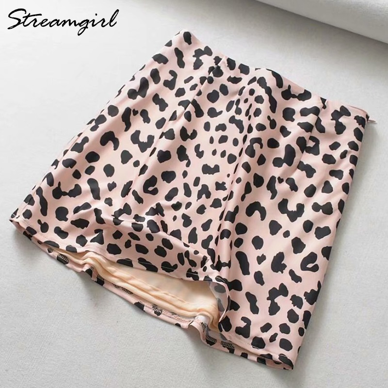 Streamgirl Summer Leopard Skirt Mini Zipper Sexy Pink Satin Skirt Short Mini Saia Ladies Leopard Print Skirts Womens High Waist image