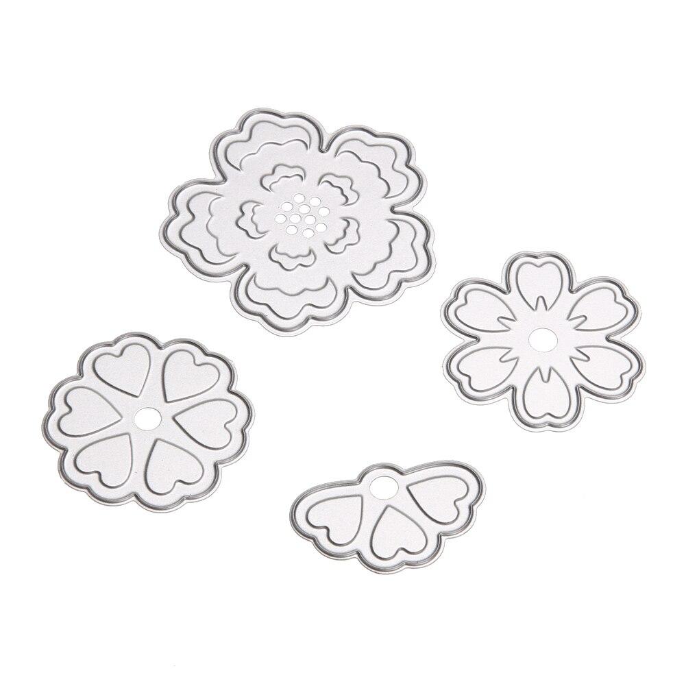 ᗚ4 unids/set flor Recortes de papel plantillas para DIY scrapbook ...