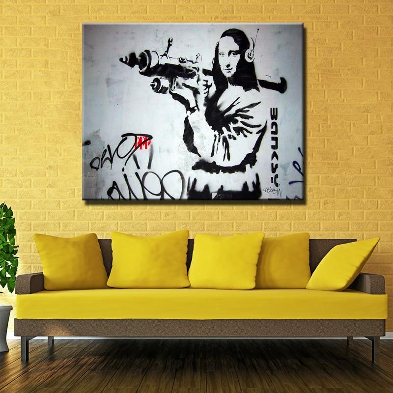 Canvas Painting Printed Banksy Graffiti Art Mona Lisa Bazooka Pop ...