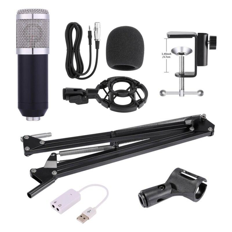 Professionnel Microphone À Condensateur pour ordinateur Audio Studio Vocal Enregistrement Mic KTV Karaoké Microphone stand Ensemble