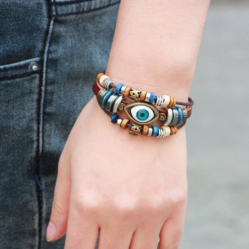 Detail Feedback Questions about Rinhoo Handmade Jewelry bijoux Unisex Girls  Woman Leather Bracelet Wristband Blue eye bead bracelet for men on ... 191d56e850a