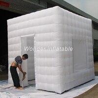 Бесплатная логотип плату 3 м 10ft светодиодный белый надувной photo booth с 1 окна 1 двери надувные СВЕТОДИОДНЫЙ photobooth для реклама