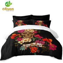Day of the Dead Sugar Skull Bedding Set Colorful Floral Print Duvet Cover Set Twin Full Queen King Pillowcase Home Decor D35 floral print bedding set
