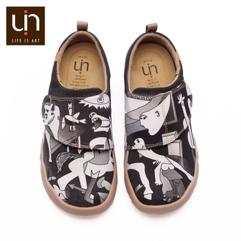 UIN Ace & Pedro Design Hand-painted Casual Flat Shoes for Kids Hook & Loop Comfort Flats Boys/Girls Outdoor Sneakers for Child