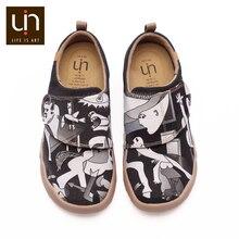 Uin ace & pedro design 어린이를위한 손으로 그린 캐주얼 플랫 슈즈 hook & loop comfort flats 소년/소녀 야외 운동화
