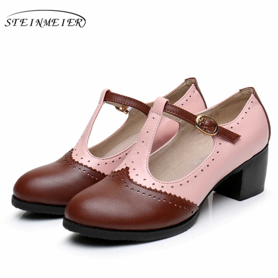 Kadın yaz Oxford sandalet ayakkabı Hakiki deri bayan topuk Sandalet kadın 2019 toka el yapımı Vintage kahverengi ayakkabı