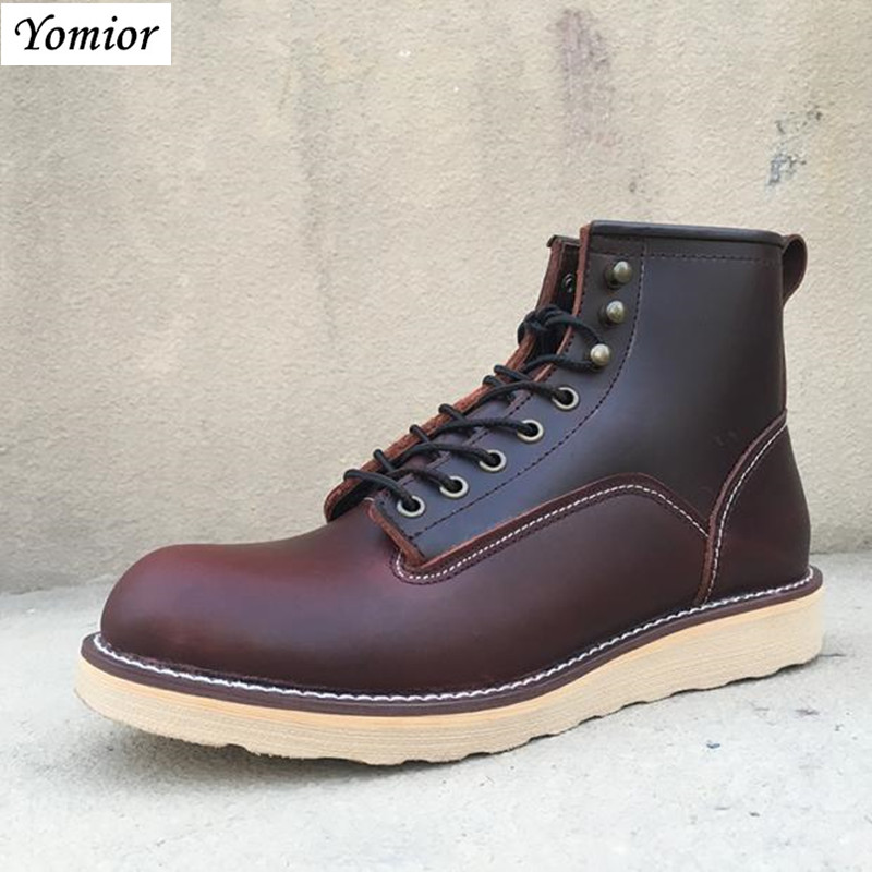 Yomior High Quality New Style Handmade Genuine Leather Shoes Men Boots Motorcycle Spring Fashion Classic Business Office Boots new fashion men boots motorcycle handmade wing genuine leather business wedding boots casual british style wine red boots 8111