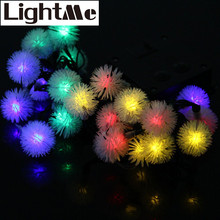 New 5m 20 LED 6 Colors Solar String Light Chuzzle Style Lamp Christmas Propsn Decors New Year Xmas Tree Ornament Props Lighting
