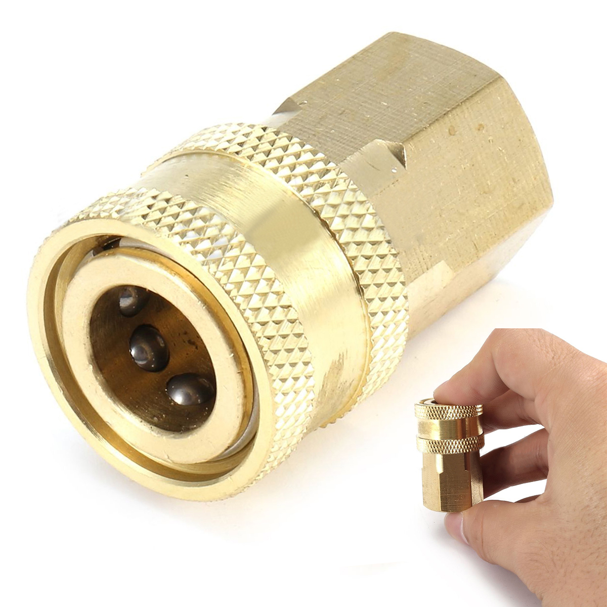 1pc 1/4 NPT Brass Female Quick Connect Coupler for Pressure Washer 15mm Inner Diameter Mayitr Durable Pipe Thread Adapter 59 brass freon high pressure refrigerator of copper adapter connector female inner diameter 24mm to male 11mm