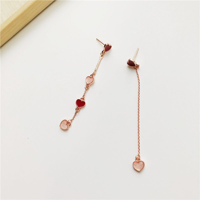 MENGJIQIAO 18 Korean New Fashion Sweet Heart Asymmetric Drop Earrings For Women Elegant Ear Line Temperament Orecchini Brincos 5