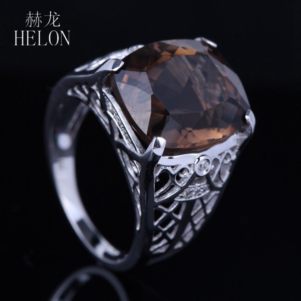 HELON Solid 10K White Gold Art Deco Antique Vintage 8.8ct 100% Genuine Smokey Quartz Natural Diamonds Engagement Wedding Ring цена