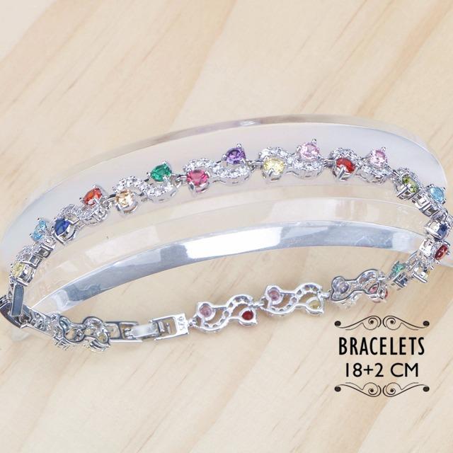 Zirconia brude smykker sett kvinner Costume Silver 925 smykker Armbånd Halskjede Rhinestone øredobber