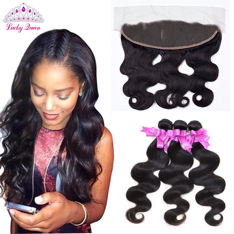 "7a Mink Brazilian Body Wave with Closure Ear To Ear Lace Frontal Closure With Bundles 14""x3"" Brazilian Lace Frontal Closure"