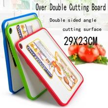 29X23 CM Über doppel Schneidebrett Rutschfeste Kunststoff Küche Schneiden Schneidebrett Blöcke double side winkel schnittfläche