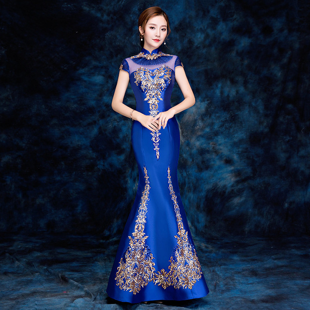 2018 Royal Blue Traditional Chinese Evening Dress Women Long Embroidery Cheongsam  Bride Traditions Mermaid Wedding Qipao Satin 658b8100ba40