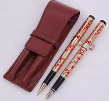 Jinhao 5000 Red Golden Fountain Pen & Roller with Real Leather Pencil Case Bag Washed Cowhide Holder Writing Set