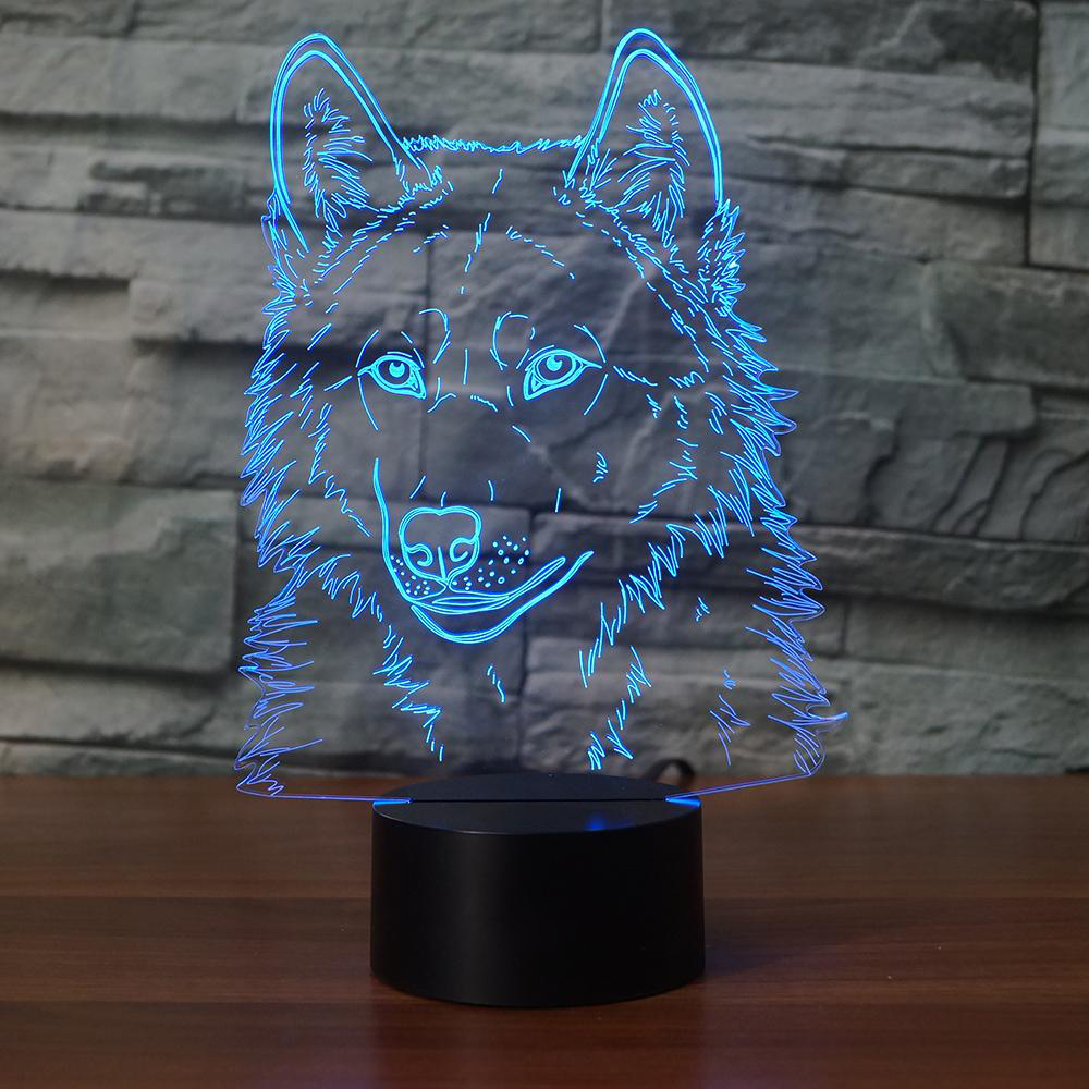3D Animal Wolfs Head Modelling Table Lamp LED USB Creative Baby Sleep Night Light Bedside Light Fixture Bedroom Decor Kids Gifts 3d fire engine modelling table lamp 7 colors changing fire truck car night light usb sleep light fixture bedroom decor kids gift