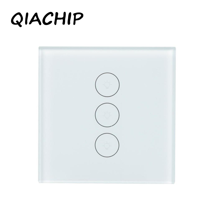 QIACHIP Remote Control Switch EU Standard 3 Gang 1 Way Wall Touch Screen Light Switch Luxury Glass Switch Panel Smart Home босоножки