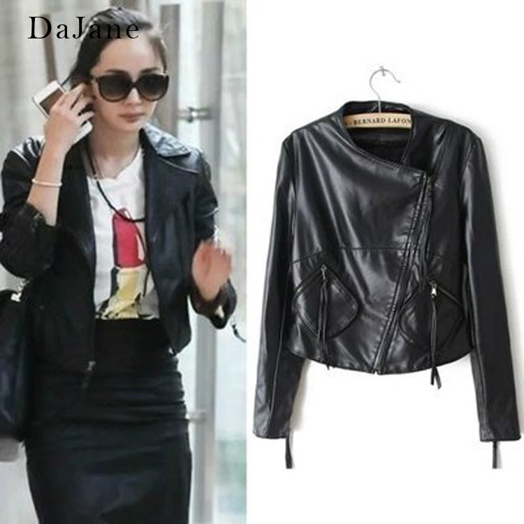 DaJane Yang Mi Star With The Same Paragraph   Leather   Women Short Section Slim PU Jacket   Leather   Jacket Haining