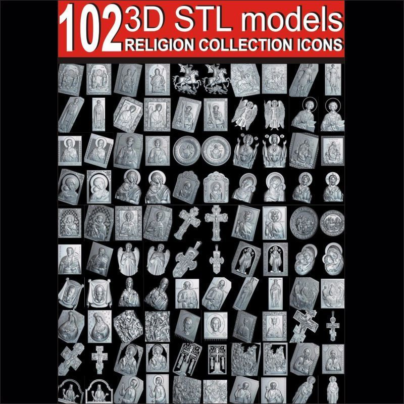 102pcs Religion Collection Icons 3d Model STL Relief For Cnc STL Format Christian 3d Model Stl Relief Artcam Vectric Aspire