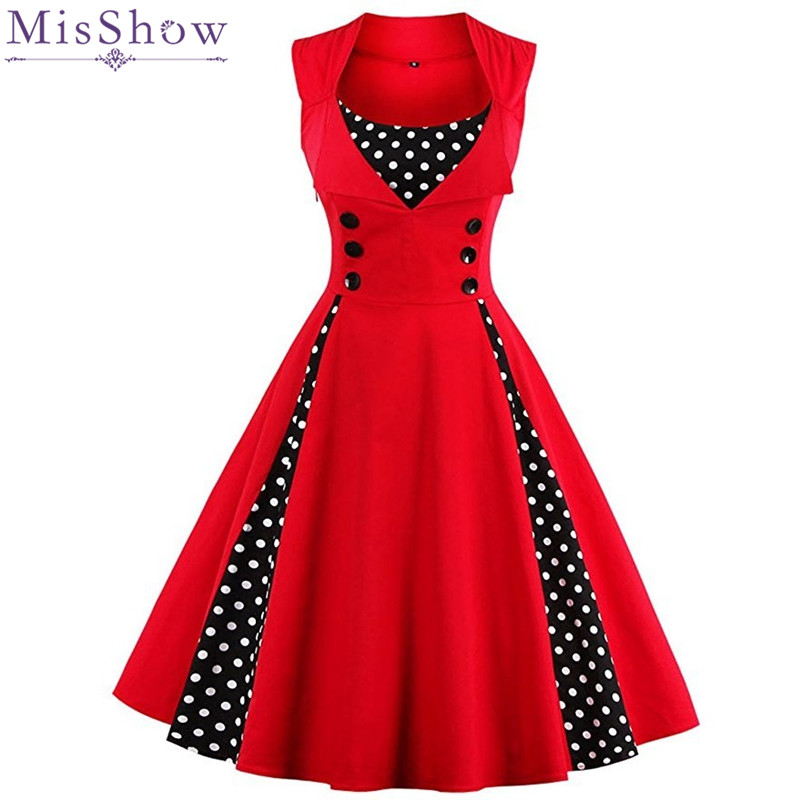 MisShow 2018 In Stock Plus Size Summer Women Dress Red Dot Vintage Dress Rockabilly Retro Party Dress Vestidos Fast Shipping