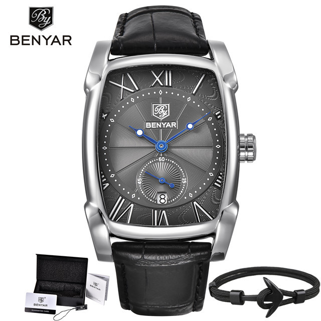 BENYAR 2019 Waterproof Quartz Luxury Mens Watch Top Fashion Brand gold white Dial zegarek meski Leather Brown Strap reloj hombre | Fotoflaco.net