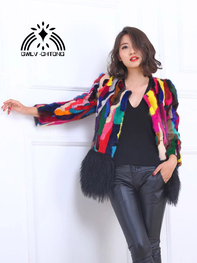 New Natural Genuine Real Mink Fur Coat Women's Fashion Multi-color Colorful  All-match  Jacket With Lamb Fur Hem