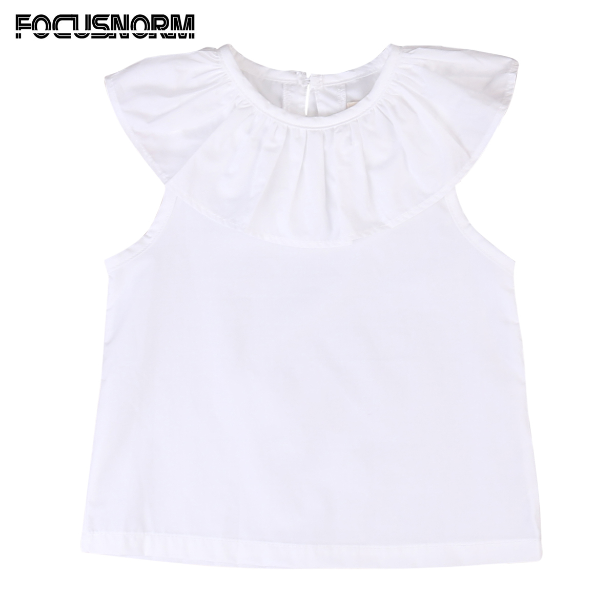 0-3Y Kids Baby Girls Summer Sleeveless Solid   Blouse   Ruffle Collar Tops   Shirts   White Baby Girls Clothing