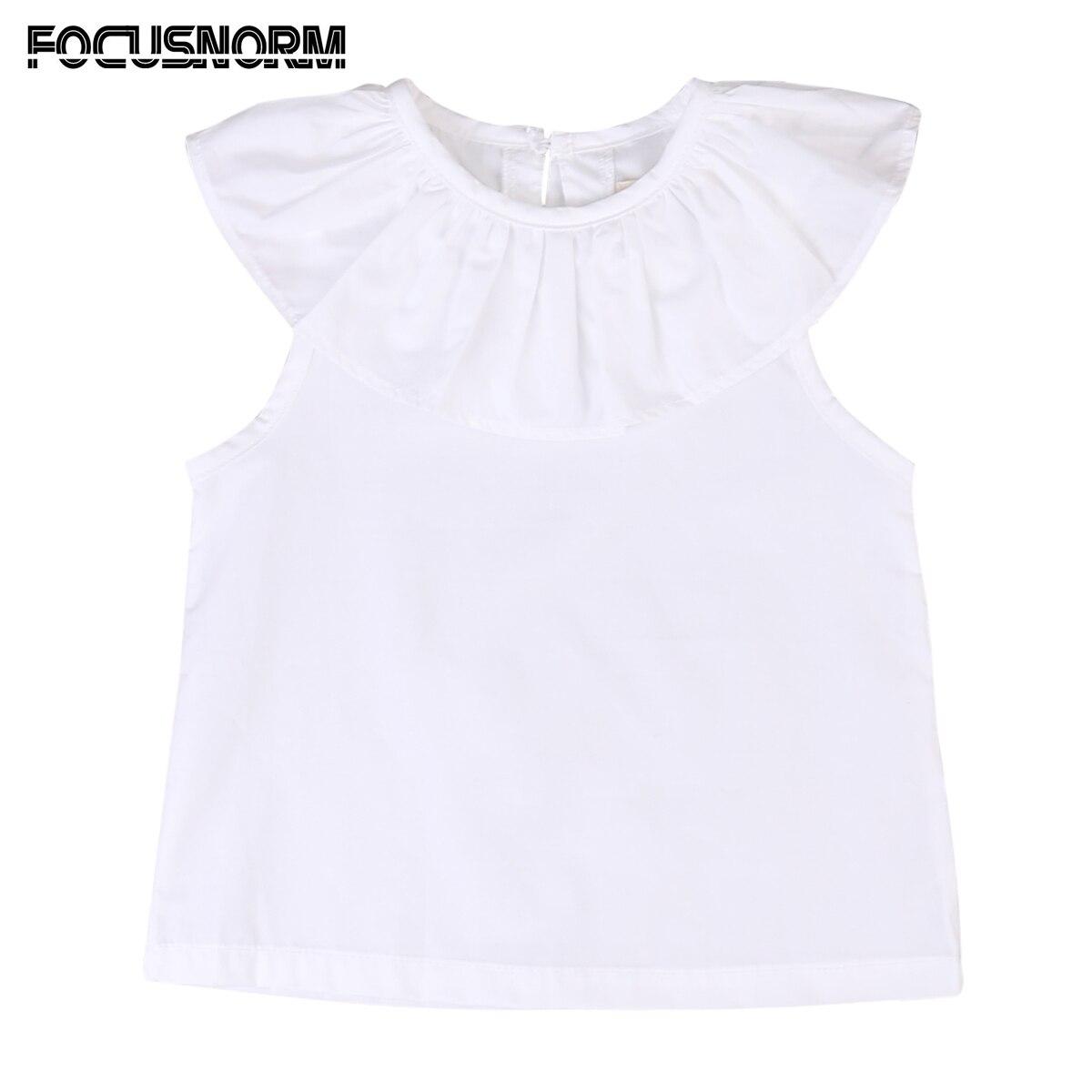 0-3y Kids Baby Meisjes Zomer Mouwloze Solid Blouse Ruche Kraag Tops Shirts Wit Baby Meisjes Kleding Producten Worden Zonder Beperkingen Verkocht